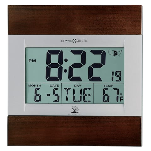 Howard Miller Techtime III Modern, Sleek, Transitional, Digital Alarm Clock With Date and Week Day, Reloj Despertador