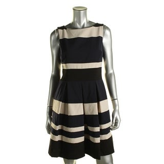 Lauren Ralph Lauren Womens Petites Striped Sleeveless Wear to Work Dress - 10P