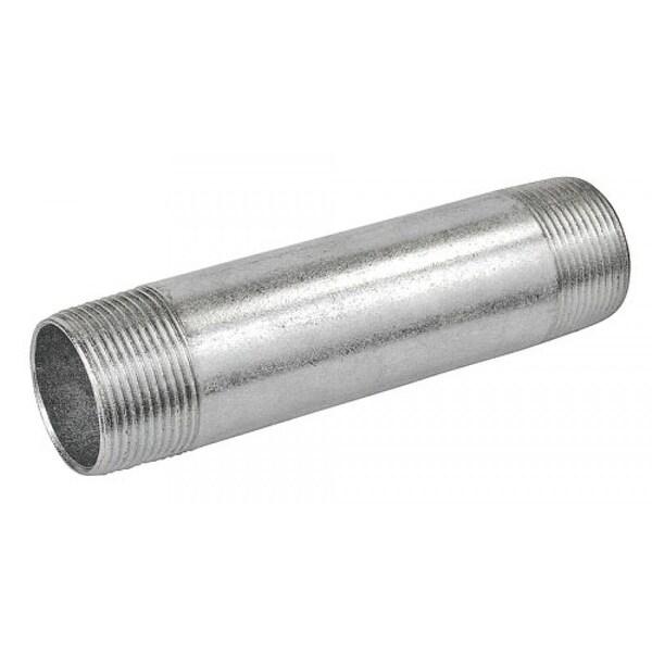 2 Pcs, 3 in. Long 1-1/4 in. Galvanized Rigid Conduit Pipe Nipple, Zinc Plated Steel