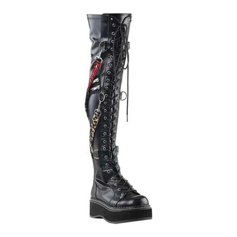 Demonia Women's Emily Over-The-Knee Boot Black Stretch Vegan Leather