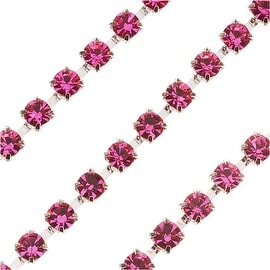 Czech Crystal Silver Plated Rhinestone Cup Chain 18PP Light Rose (By The Foot)