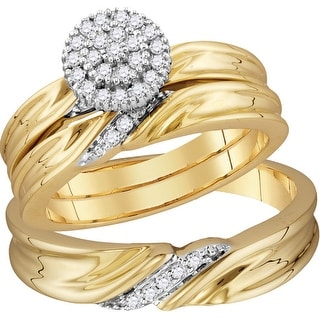 10k Yellow Gold Natural Diamond His & Hers Matching Trio Wedding Engagement Bridal Ring Set 1/4 Ctw - White