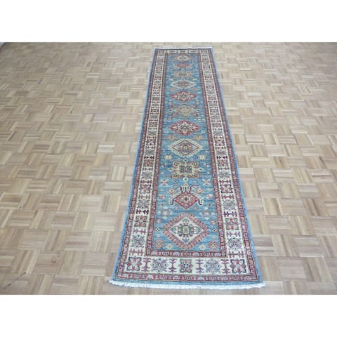"""Hand Knotted Blue Kazak with 100% Wool Oriental Rug (2'10"""" x 11'2"""") - 2'10"""" x 11'2"""""""