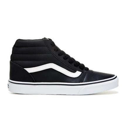 Vans Men's Ward High Top Leather Sneakers (Black/White) - 7.0 M