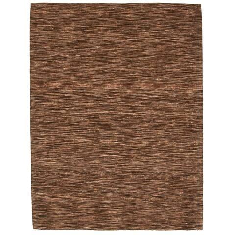 ECARPETGALLERY Handmade Collage Dark Brown Chenille Rug - 5'2 x 6'9