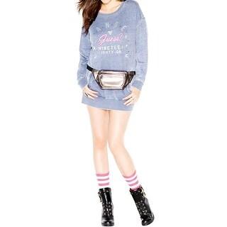 Guess Womens Juniors Sweatshirt Embellished Slogan