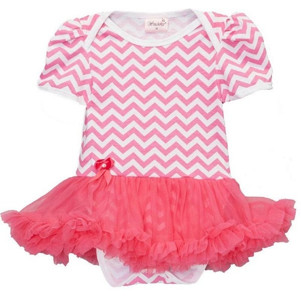 Wenchoice Baby Girls Hot Pink Chevron Tutu Short Sleeve Bodysuit