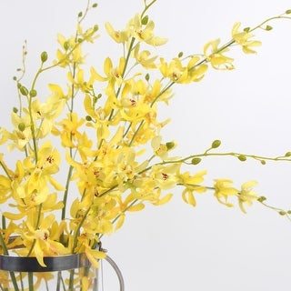 "FloralGoods Luxury Silk Asian Style Oncidium Orchid Stem in Yellow 43"" Tall"