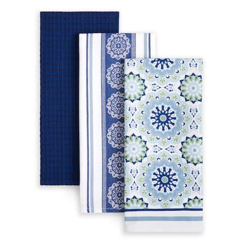 """Martha Stewart Printed Medallion Kitchen Towel 3-Pack Set - 18""""x28"""""""