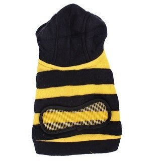 Unique Bargains Bee Shape Single Breasted Pet Doggy Hoodie Clothes Coat Black Yellow S