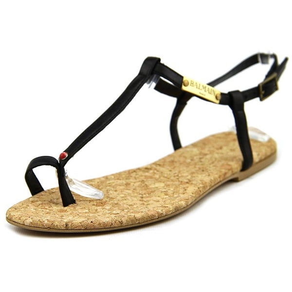 Balmain TStrap Women Open Toe Leather Sandals