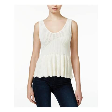 RACHEL ROY Womens Ivory Sleeveless V Neck Sweater Size M
