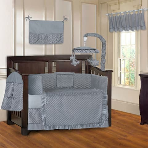 BabyFad Minky Ultra Grey 10 Piece Baby Crib Bedding Set