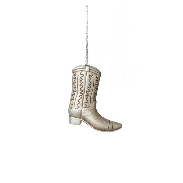 """2.75"""" Wild West Country Western Silver Cowboy Boot Christmas Ornament"""