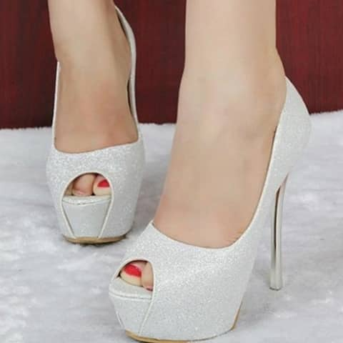 Super High Heels Are Black Gold Silver Fish Mouth High-Heeled Shoes