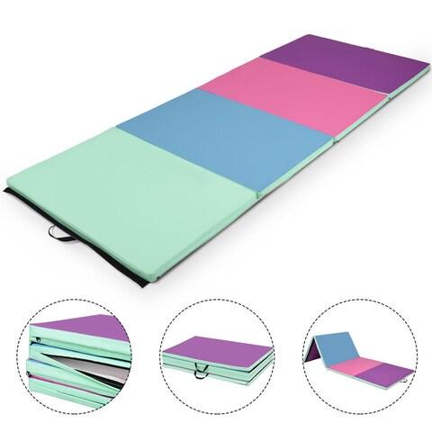 Gymax 4'x10'x2'' Portable Gymnastics Mat Folding Exercise Aerobics Exercise Gym Fitness