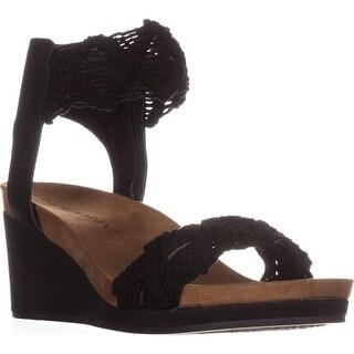 Lucky Brand Kierlo Ankle Strap Wedge Sandals, Black