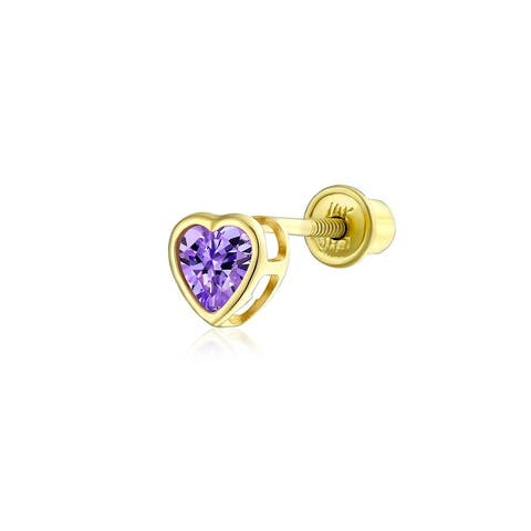 .25CT Heart Screw Back Stud Helix Cartilage Earring Real14K Gold