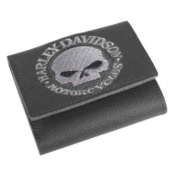 "Harley-Davidson Men's Embroidered Willie G Skull Tri-Fold Wallet, XML6145-GRYBLK - 4"" x 3.5"""