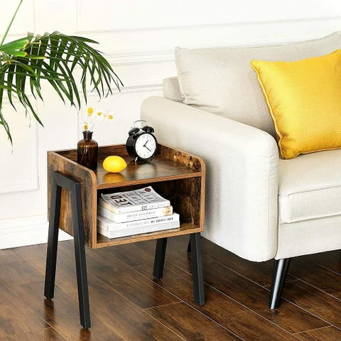 Nightstand with 2 Shelf End Table for Living Room