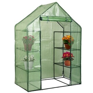Costway Portable Mini Walk In Outdoor 4 Tier 8 Shelves Greenhouse - Green