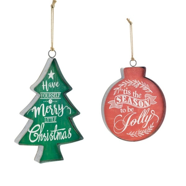 """Pack of 4 Metal Christmas Tree and Ornament Shaped Wall Hanging Signs 15"""""""