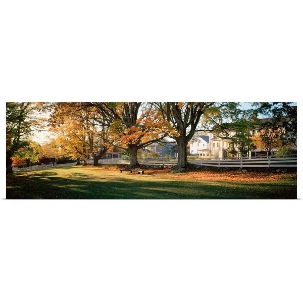 """""""Trees in front of a building, Shaker Village, Canterbury, New Hampshire"""" Poster Print"""