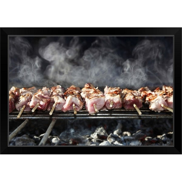"""Skewers on the barbecue"" Black Framed Print"