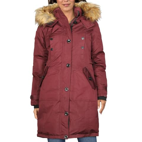Canada Weather Gear Womens Parka Coat Winter Hooded - Cranberry - M
