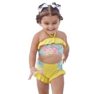 Jaea Kids Little Girls Golden Sunshine Ruffles Lulu 2 Pcs Swimsuit