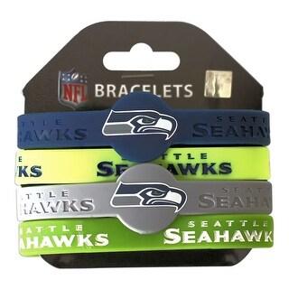 Seattle Seahawks NFL Silicone Rubber Wrist Band Bracelet Set Of 4