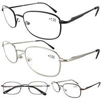 Eyekepper Metal Frame Spring Hinged Arms Reading Glasses 4 Pairs(1 Pair of per Color) +2.0
