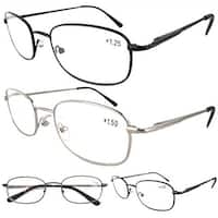 Eyekepper Metal Frame Spring Hinged Arms Reading Glasses 4 Pairs(1 Pair of per Color) +3.5