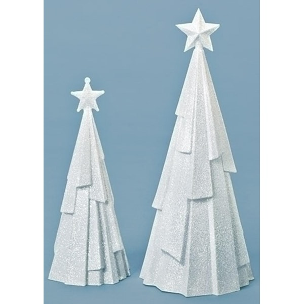 Set of 2 White Glittered Christmas Trees with Stars Table Top 10.25""
