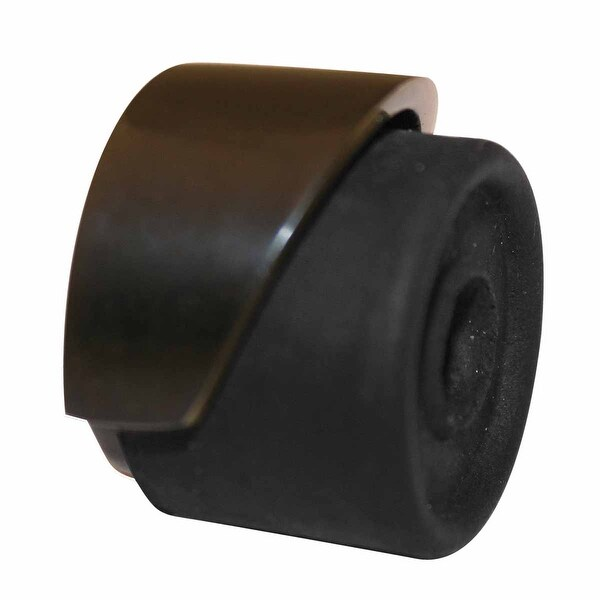 Black Door Stopper Brass Housing, Rubber Bumper, Floor/Wall Mount