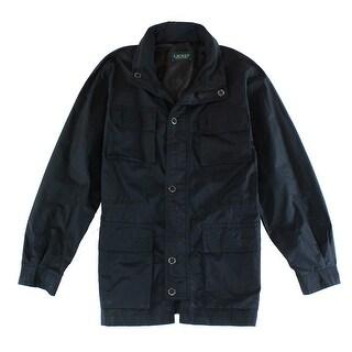 LAUREN RALPH LAUREN NEW Black Mens 44R Multi Pocket Rain Coat Jacket