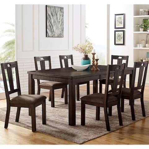 Furniture of America Sorn Transitional Walnut Solid Wood Dining Set