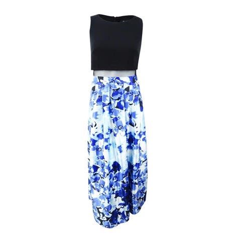 Betsy & Adam Women's Petite Illusion Floral-Print Gown - Black/Blue
