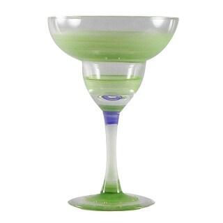 Set of 2 Green Retro Stripe Hand Painted Margarita Drinking Glasses - 12 Ounces