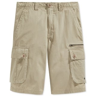 LRG NEW Beige Mens Size 34 Flat Front Canvas Textured Cargo Shorts