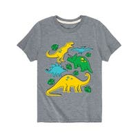 Dino Types Drawing Boy - Youth Short Sleeve Tee