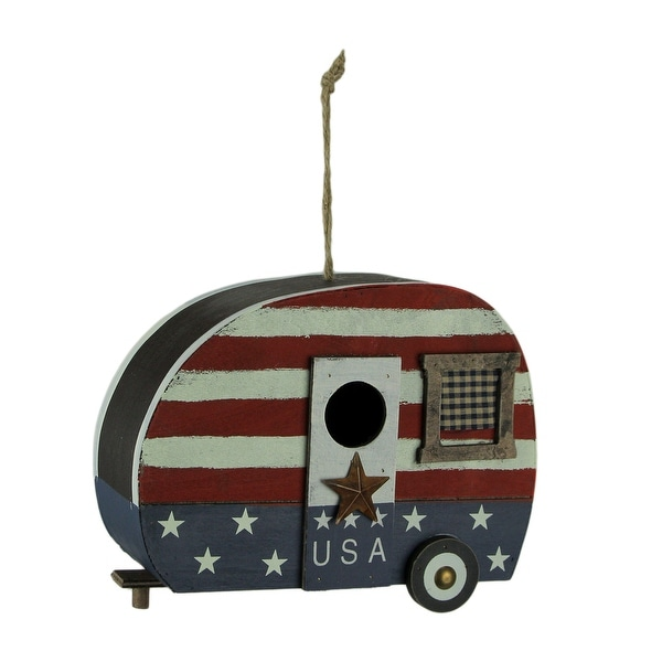 Red White and Blue Wood USA Retro Camper Birdhouse - 8.25 X 11 X 4.5 inches
