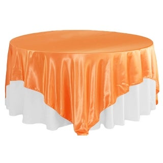 "Square 90""x90"" Satin Table Overlay - Orange"