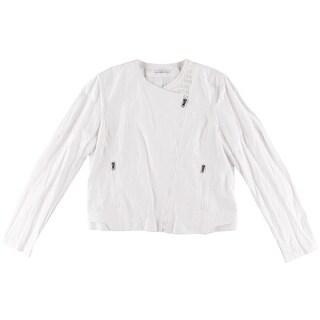 T Tahari Womens Stella Metallic Asymmetric Jacket - M