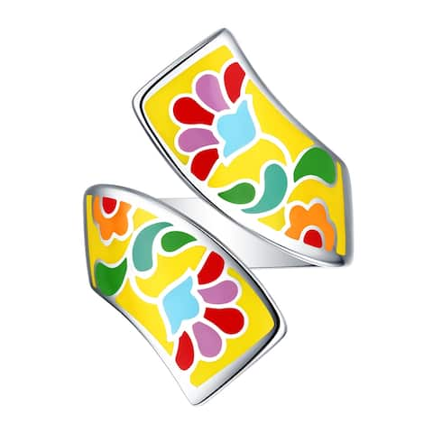 Vedantti Madhubani Art Flower Multi Color Enamel Bypass Twisted Ring