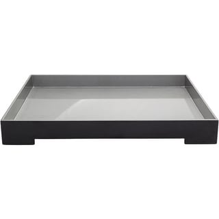"20.5"" Black and Metallic Silver Modern Style Tray Decorative Accent"