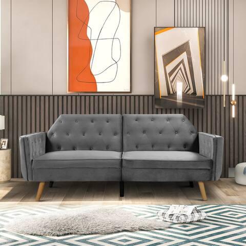 Nestfair Velvet Upholstered Modern Convertible Folding Loveseat