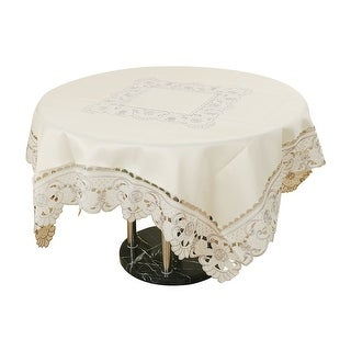 Light Beige Rose Flower Embroidered Table Cover Tablecloth Square 85cm x 85cm