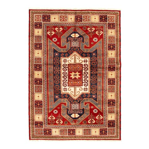 ECARPETGALLERY Hand-knotted Royal Kazak Red Wool Rug - 5'7 x 7'10