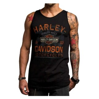 Harley-Davidson Men's Chrome Charger Sleeveless Muscle Shirt, Black 5500-HC74